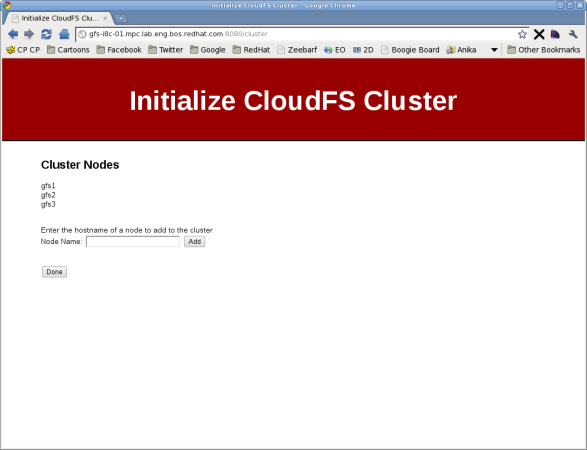 cluster management screen