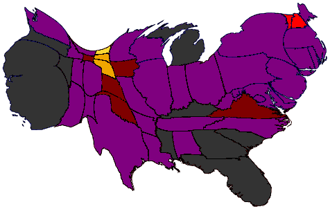 US unemployment cartogram