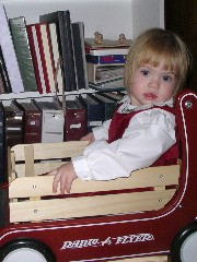 Amy in a wagon